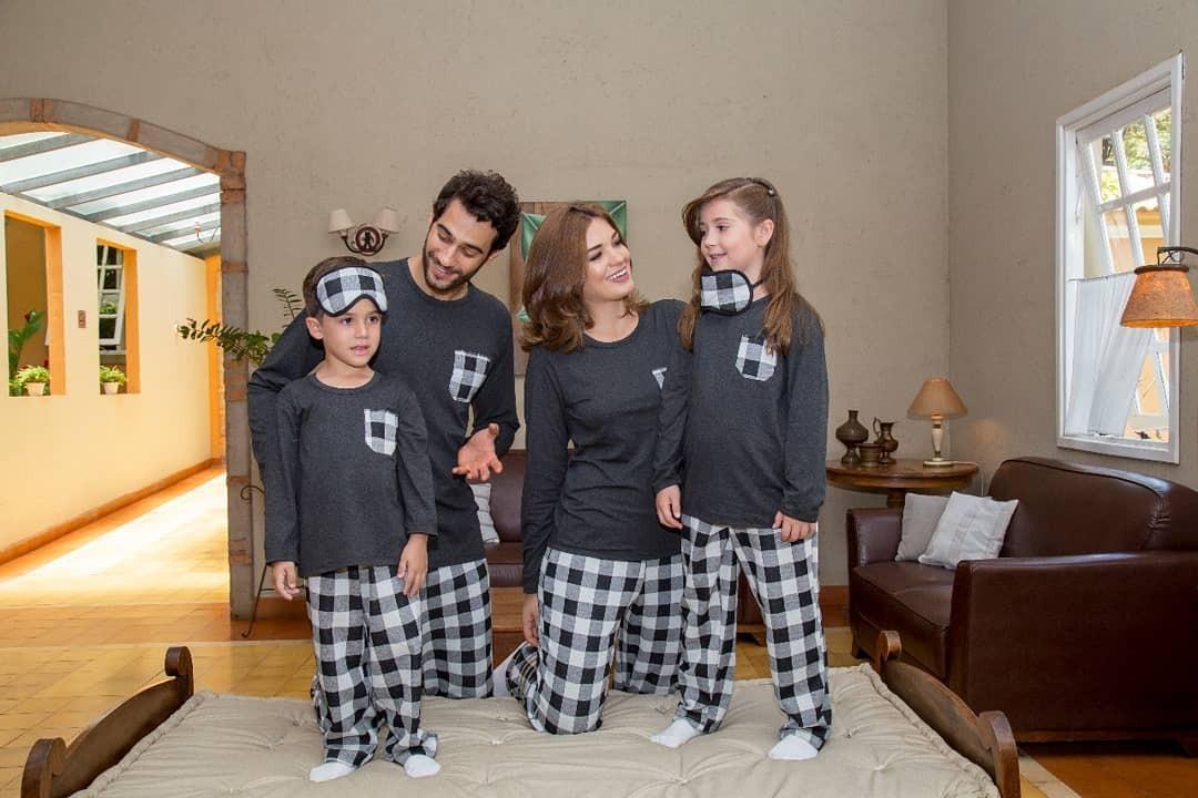 b50706a1b4486c Kit Pijama Família Inverno 1 Masculino 1 Feminino Xadrez