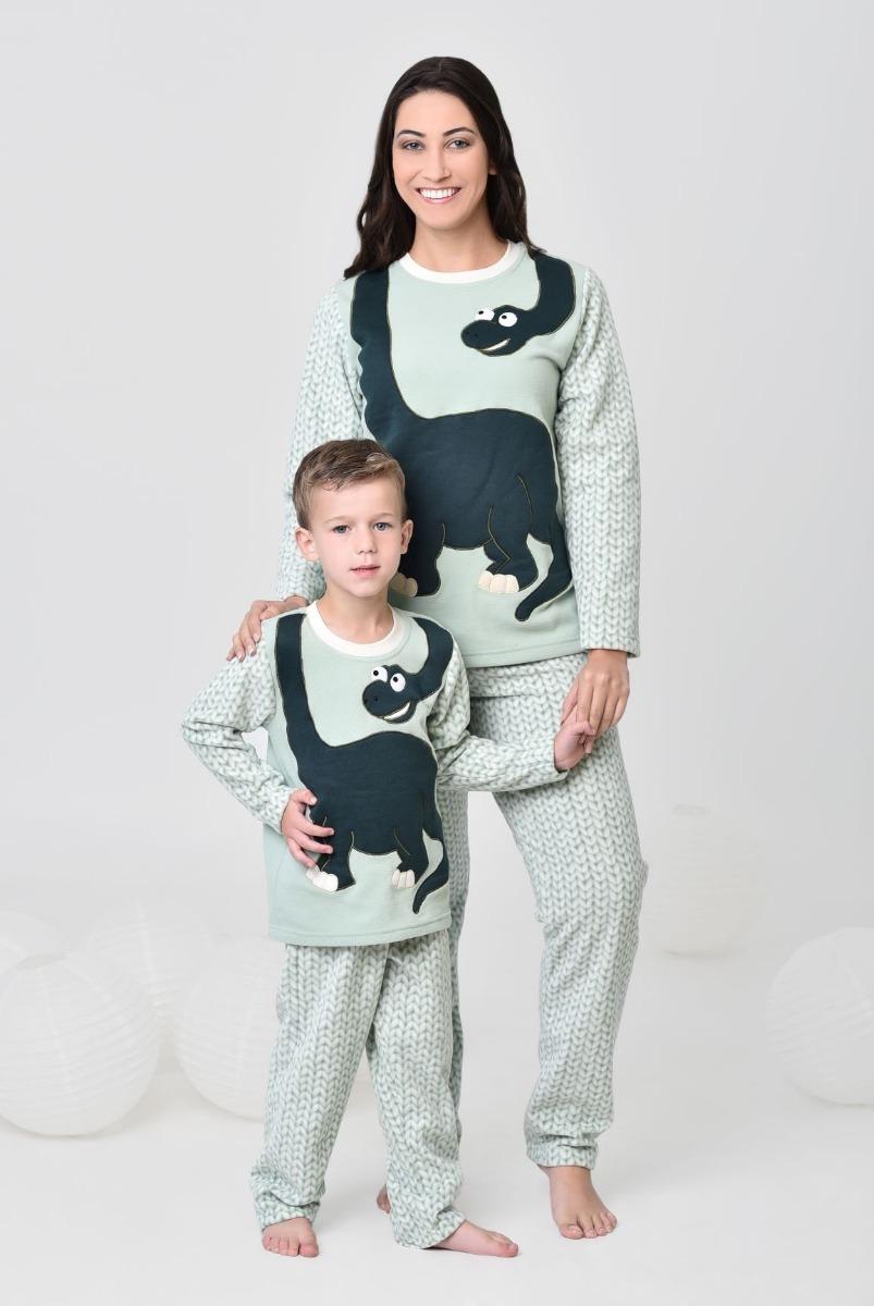 030fb75eb06037 Kit Pijama Feminino + Infantil Soft Dinossauro Mãe E Filho