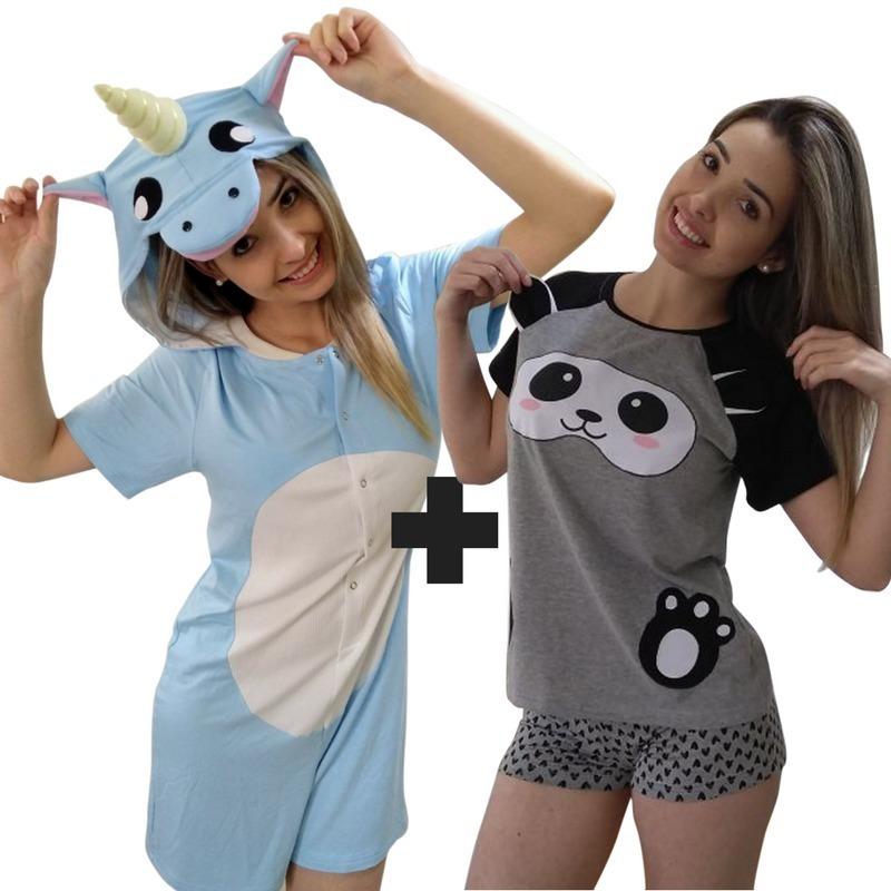 33df620fab Kit Pijama Macacão Unicórnio + Pijama Curto Feminino Panda - R  249 ...