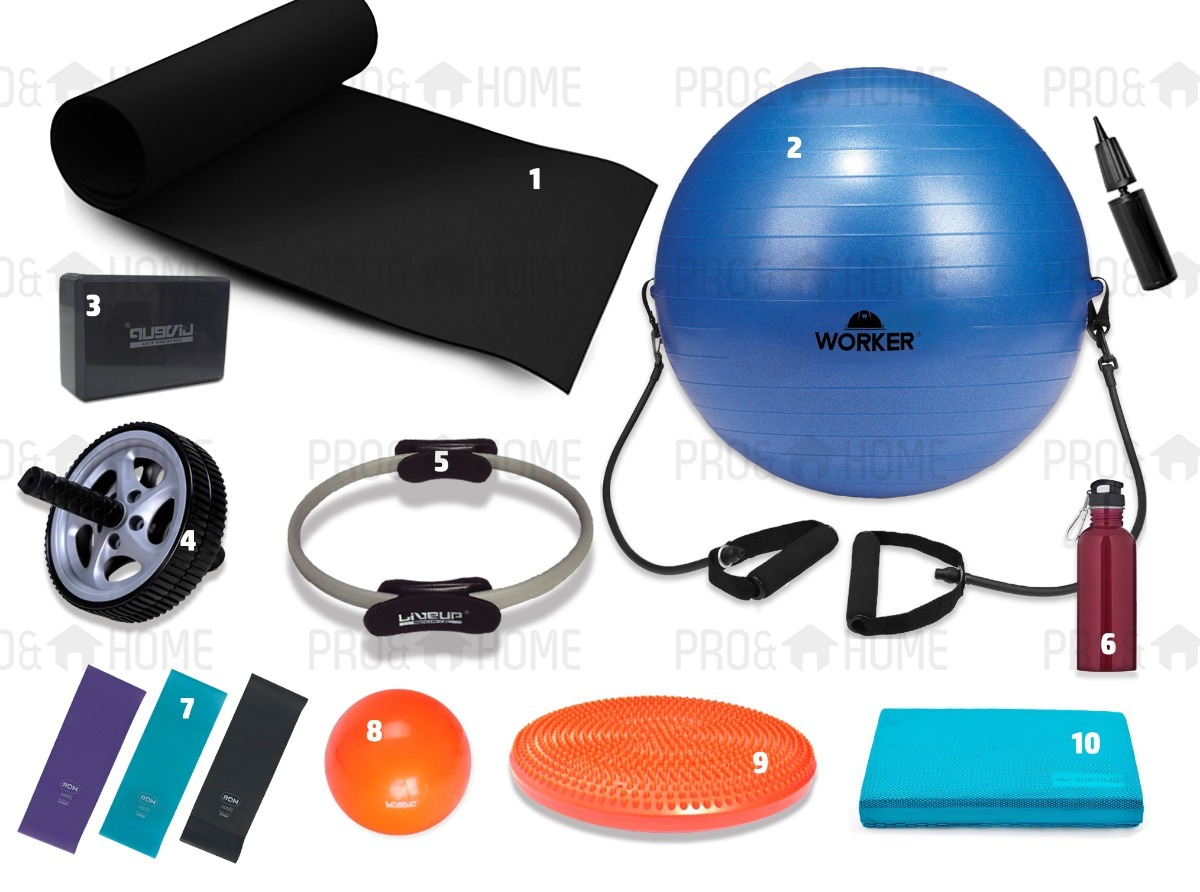 d9b9e0aa003d5 Kit Pilates Yoga Bola Suíça Tapete Disco Roda Overball Balan - R ...