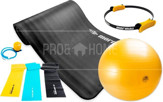 567ac686f014f Kit Pilates Yoga Mormaii Bola Suíça 65cm + Elásticos + Tapet - R  317