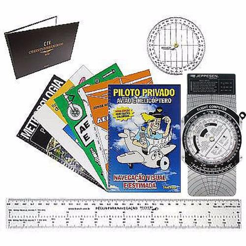 kit piloto privado livro+transf+régua+computador de voo+civ