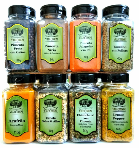 kit pimenta & especiarias jalapeño, síria, açafrão, tomilho