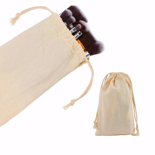 kit pincéis maquiagem 11 pcs cabo de bambu pronta entrega