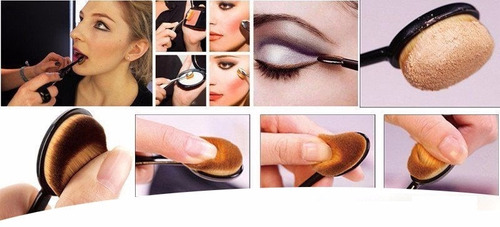 kit pincel maquiagem oval 10pcs preto super promoção