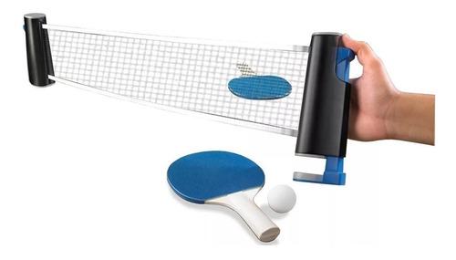 kit ping pong 2 paletas + 3 pelotas + red extensible + unica