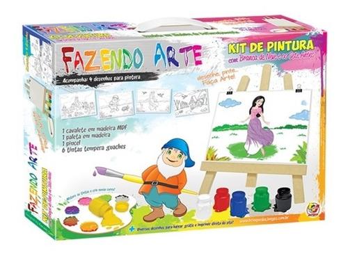 kit pintura infantil c/ cavalete tintas telas branca de neve