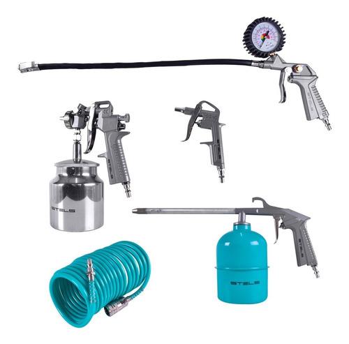 kit pintura limpeza calibrador pistola 5 pçs p/ compressor