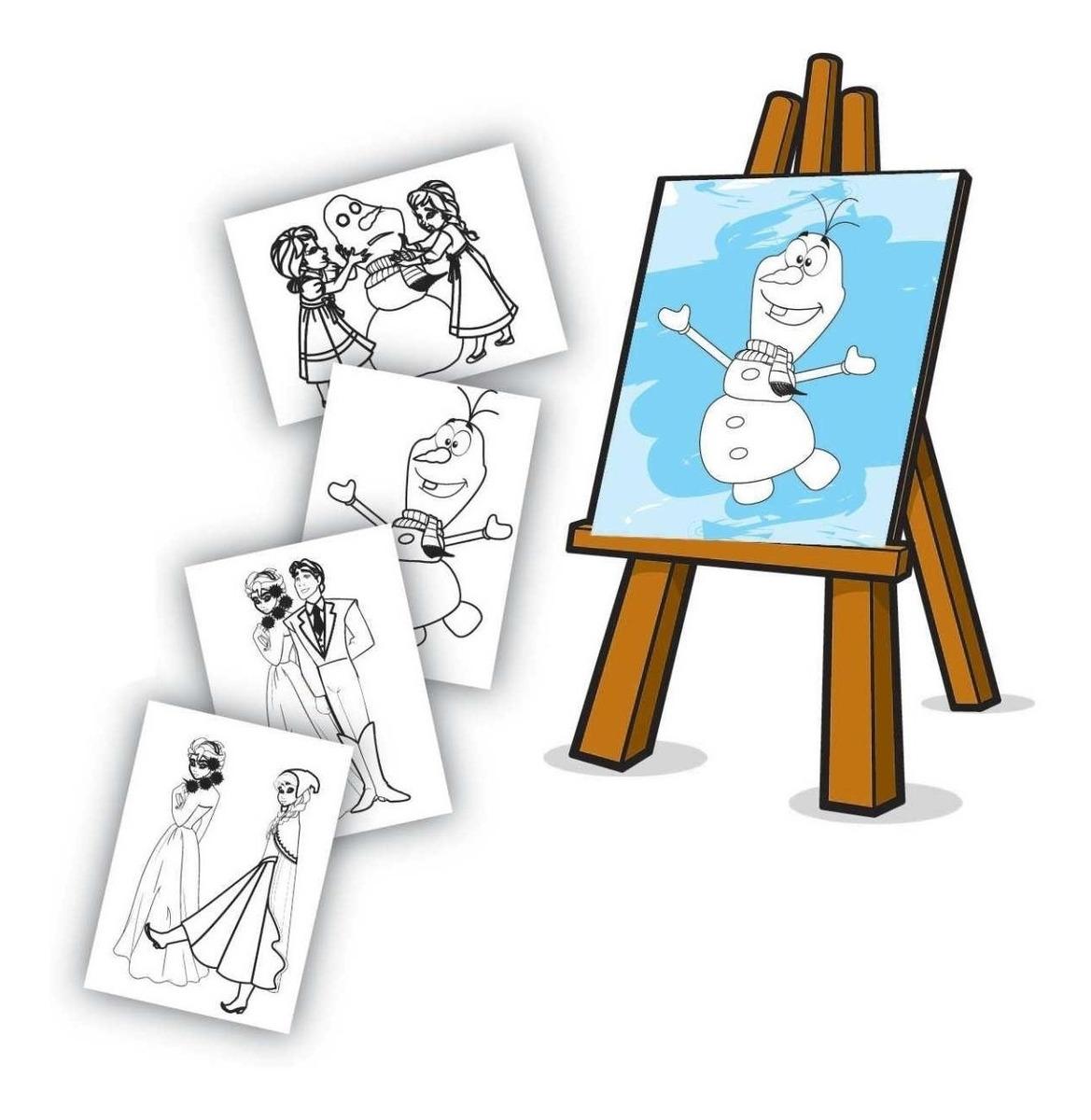 Kit Pintura Mini Cavalete Princesa Gelo Frozen Colorir R 69 90