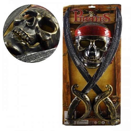 kit pirata com 2 espada+ mascara infantil brinquedo 9095