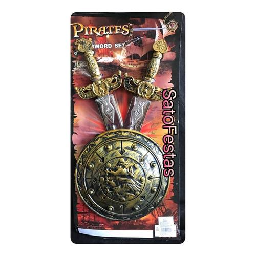 kit pirata com escudo e 2 espadas - 1 unidade