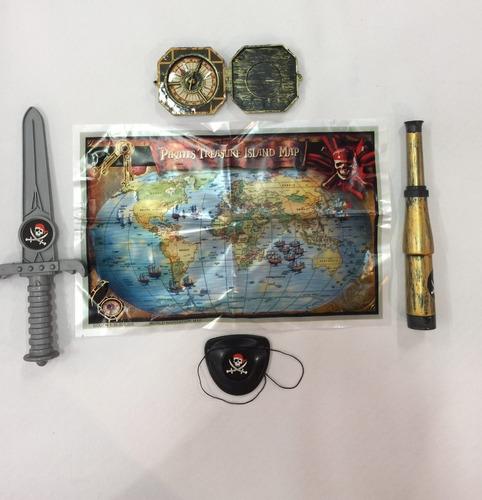 kit pirata com espada bússola mapa estelescopio fantasia