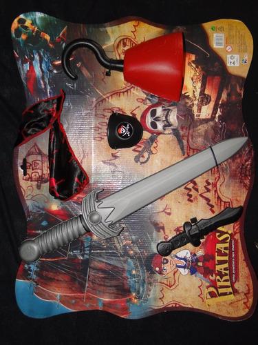 kit pirata infantil espada mão gancho bandana tapa olho faca