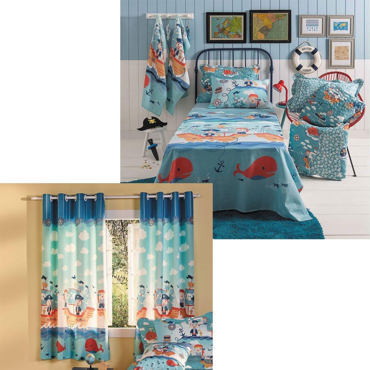 408c838452 kit pirata infantil menino cortina blackout + jogo de cama. Carregando zoom.