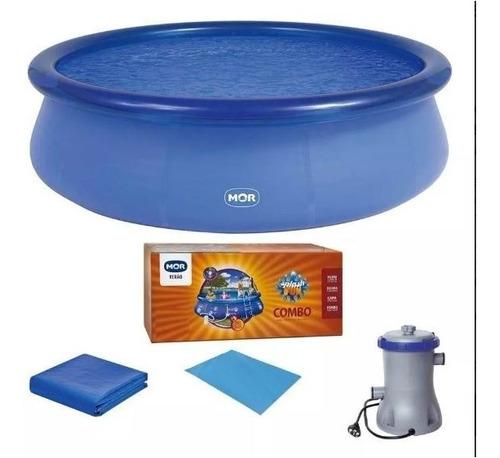 kit piscina 4600 litros c/ filtro,forro,capa e dvd + brinde