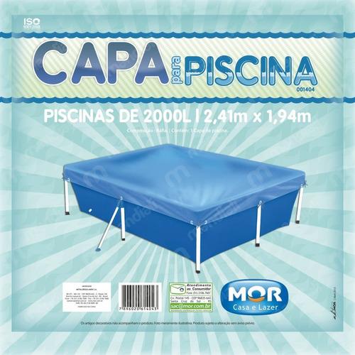 kit piscina retangular 2000 litros + capa e forro mor
