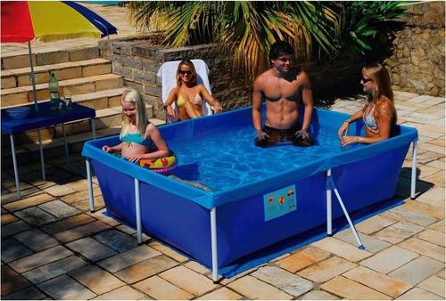 kit piscina retangular 2000 litros standard  + capa
