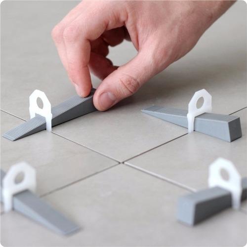 kit piso porcelanato 1000 clips 1mm + 100 cunha + alicate