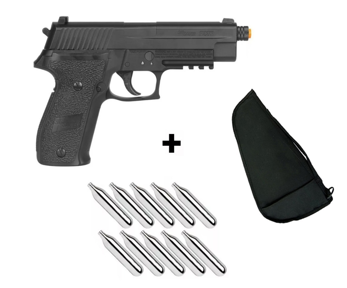 3f59fd00705 Kit Pistola Co2 Sig Sauer P226 4.5mm - Full Metal + Capa - R  2.019 ...