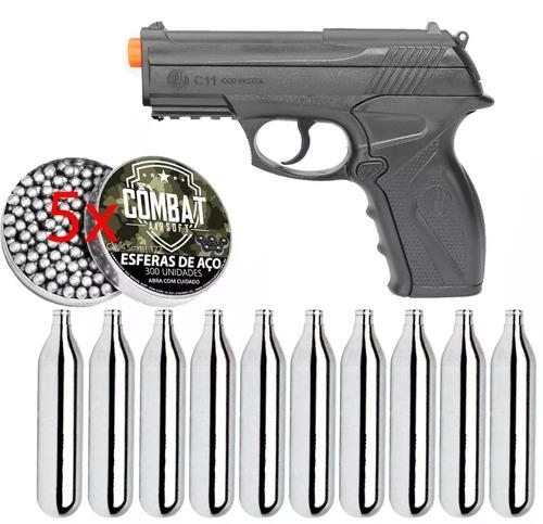kit pistola pressão wg c11 polímero +1500 esferas +10 co2