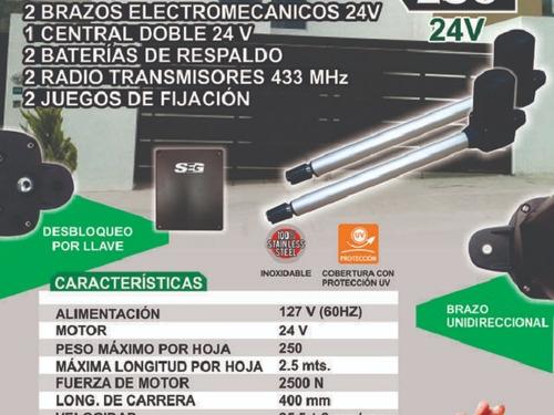 kit pistones pivus 250 puertas 2.5 mts 24v portón abatible