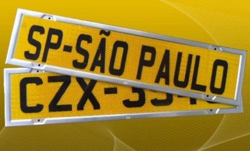 kit placa caminhão amarelo ouro