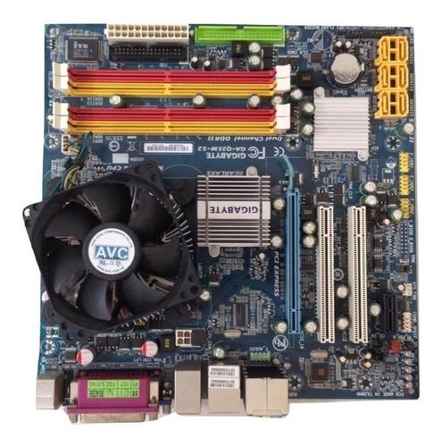 kit placa mãe 775 ddr2 + processador + cooler + memória novo