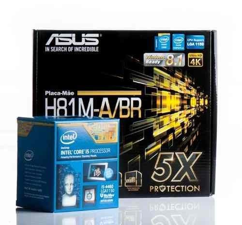 Kit Placa Mae Asus H81m A Br Intel Core I5 4460 Lga 1150