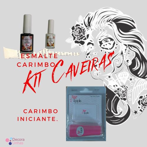kit placas carimbo unhas caveira gratis carimbo+esmalte.