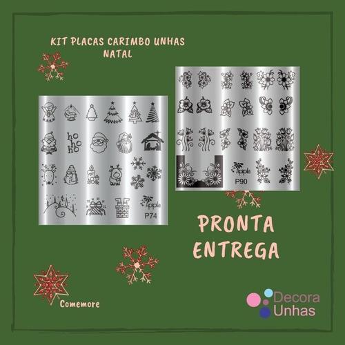 kit placas carimbos de unhas natal.  p  grátis esmalte.