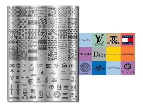 kit placas carimbos unhas marcas famosas apipila a28