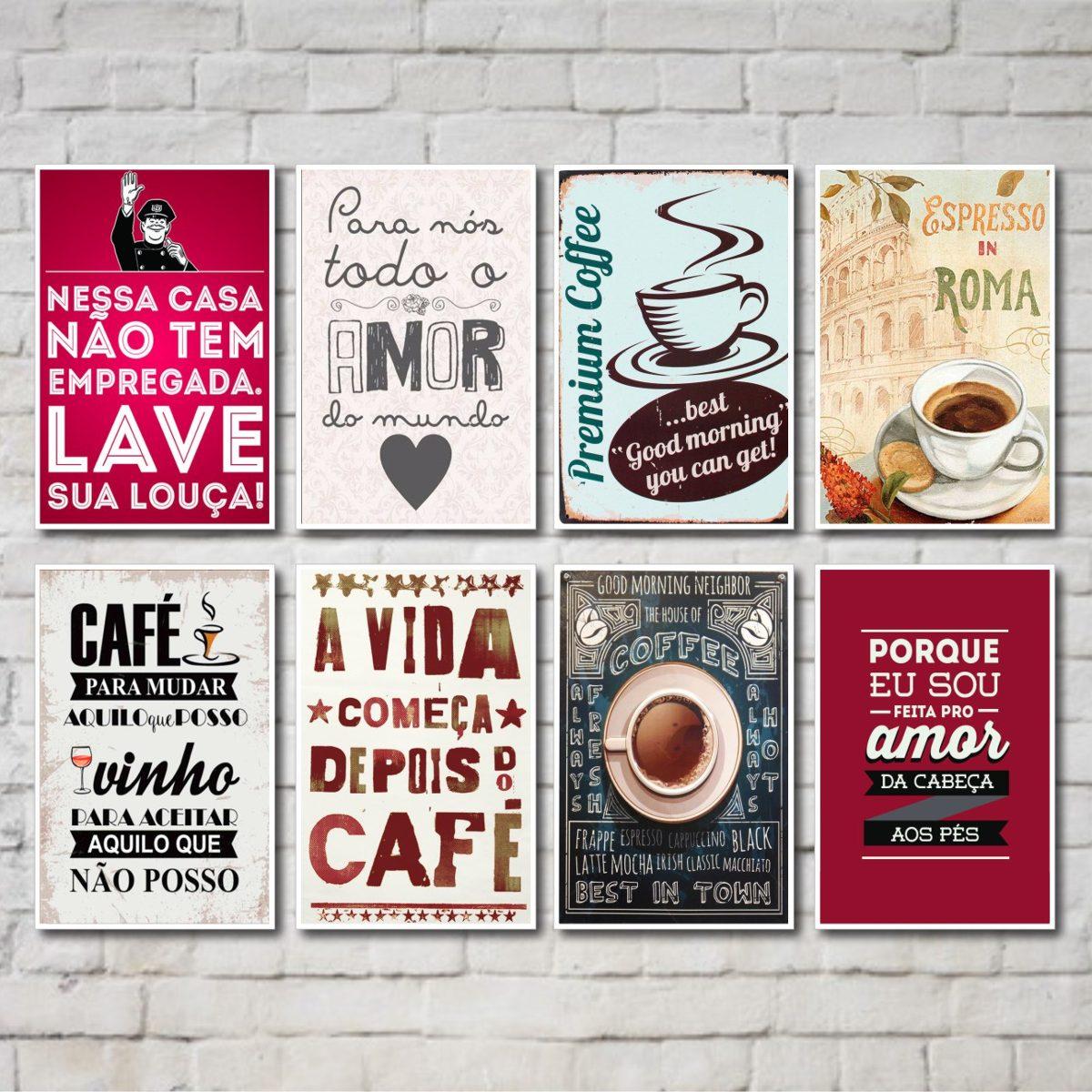 Kit Placas Decorativas Frases Caf Cozinha 08 Placas R 99 90  ~ Frases De Limpeza Na Cozinha