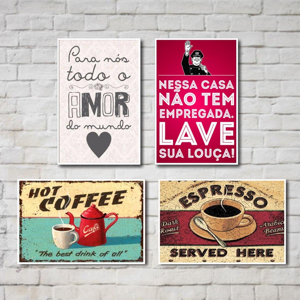 Kit Placas Decorativas Frases Cozinha 04 Placas R 49 90 Em  ~ Frases De Limpeza Na Cozinha