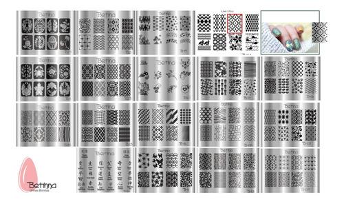 kit placas e carimbos de unhas betinna impares