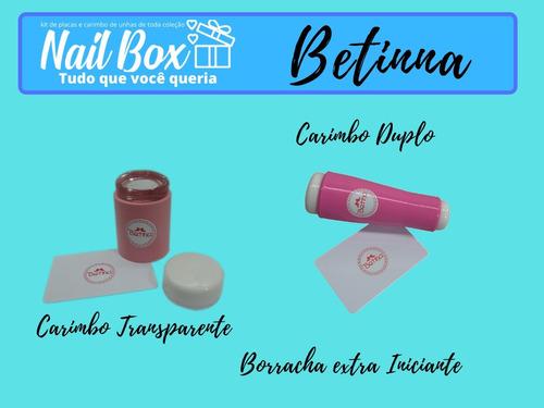 kit placas e carimbos de unhas betinna nail box