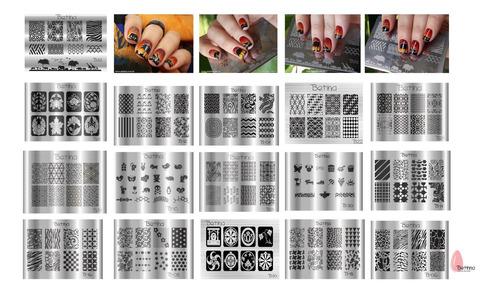 kit placas e carimbos de unhas betinna pares