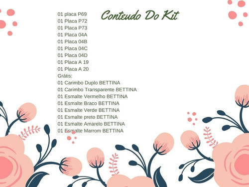 kit placas e carimbos unhas - decora e você-  flores