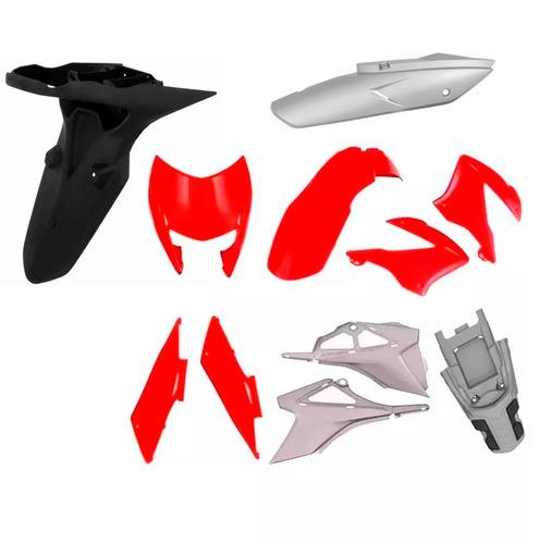 kit plástico carenagem p/  bros 150 ano 2009 2010 - vermelho