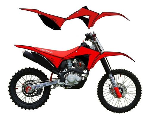 kit plastico crf230 biker elite 2019 vermelho preto + plate