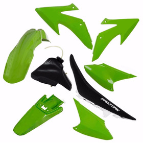 Kit Plastico Xr200 Xr250 Conjunto Verde + Tanque + Banco