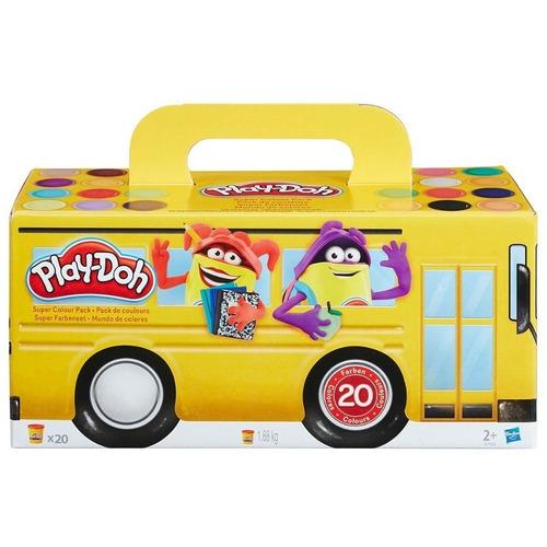 kit play-doh com 20 potes massinha modelar ônibus hasbro