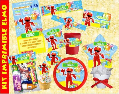 kit plaza sesamo chivic cumpleaños invitaciones tarjetas