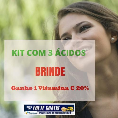 kit plus: ácido hialurônico + mandélico + glicólico + brinde