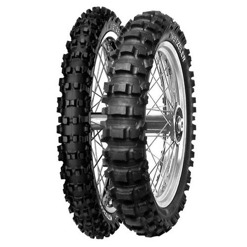 kit pneu trilha motocross 80/100-21 + 100/90-19 metzeler mc5