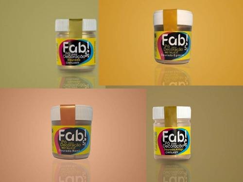 kit pó decoração fab (4 tipos dourado)
