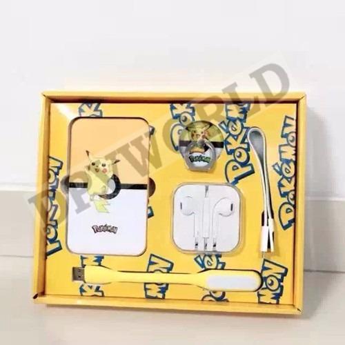 kit pokemon bateria power bank usb audifono linterna llavero