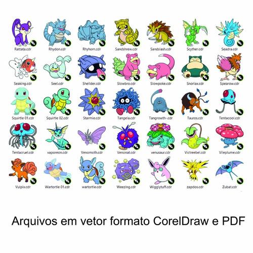 kit pokemon com 161 vetores - arquivo digital em corel e pdf