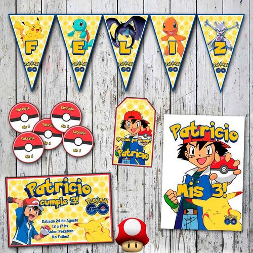 kit pokemon invitaciones, stickers, banderín, cartel cumple