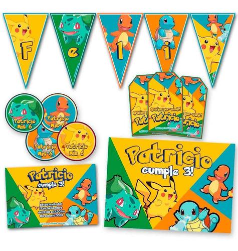 kit pokemon invitaciones, stickers, banderín, impreso