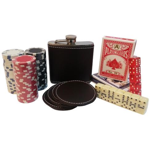 kit poker e bar maleta em couro baralhos dados cantil 7498